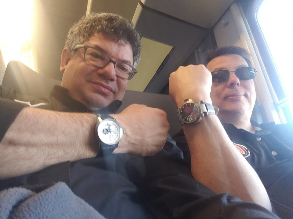 Tim Temple (r) and Abe Weiss on the train from Lucerne for Basel Watch Fair